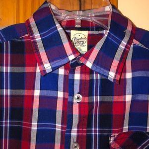 Boys Faded Glory Plaid Button Down Shirt